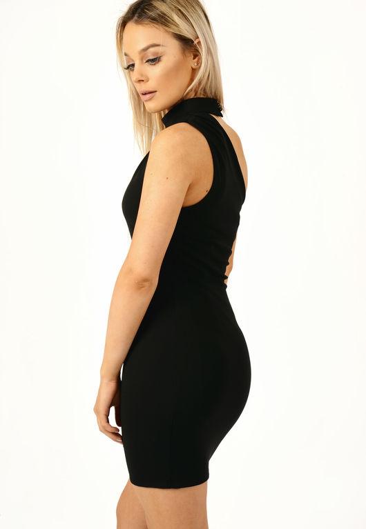 Off The Shoulder Choker Neck Dress Black