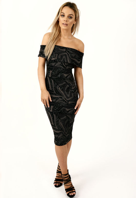 Black Sparkle Bardot Dress