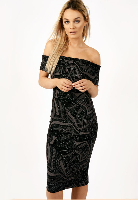 Alexa Black Sparkle Bardot Dress