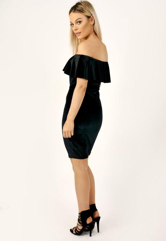Velvet Frill Ribbed Glitter Bardot Dress Black