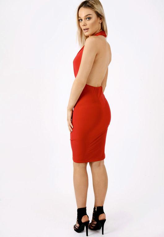 Halterneck Bodycon Dress Red