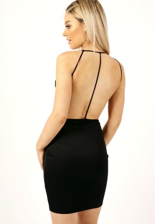 Halterneck Strappy Bodycon Dress Black