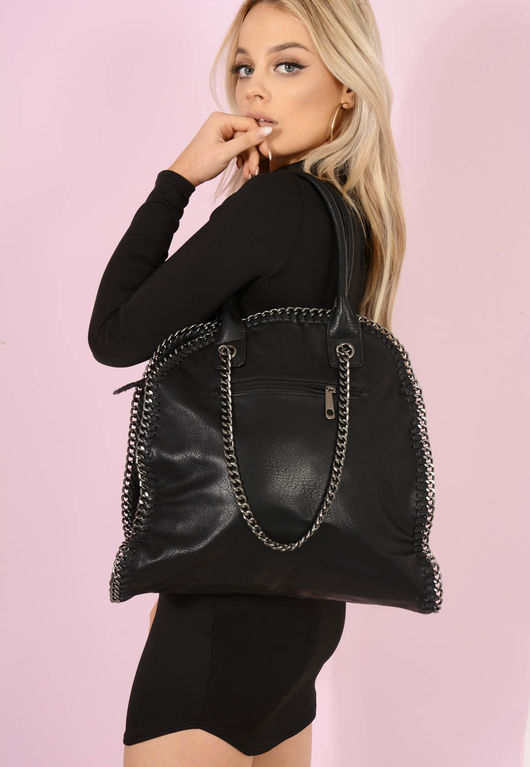 Bella Chain Trim Handbag Black