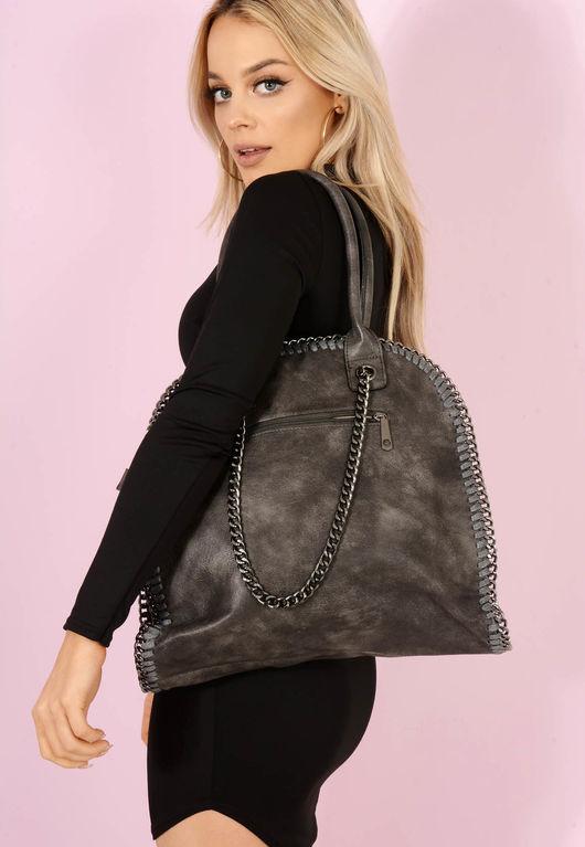 Bella Chain Trim Handbag Grey