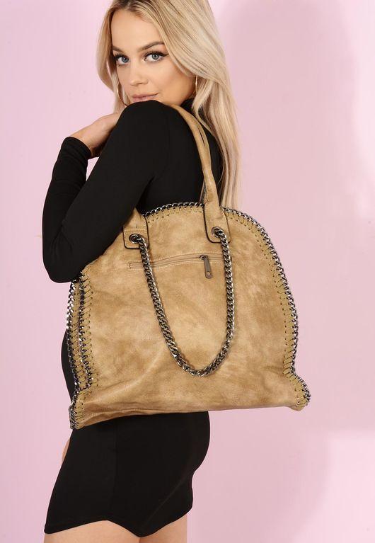Bella Chain Trim Handbag Camel