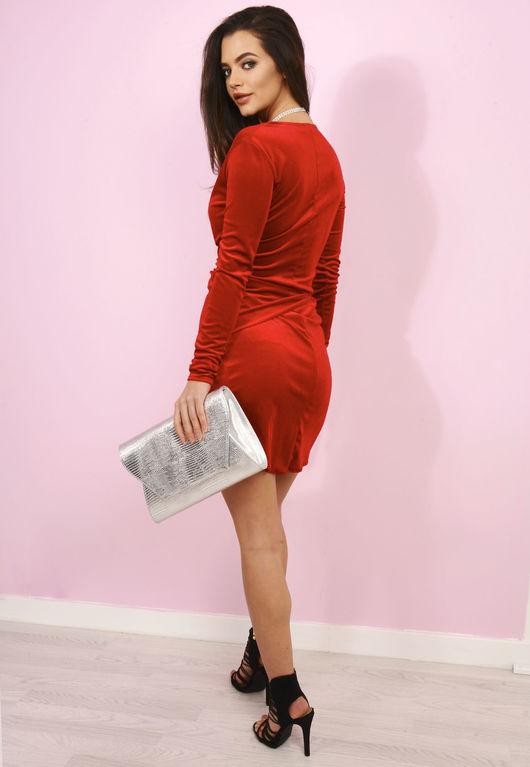 Red Wrap Over Velvet Dress