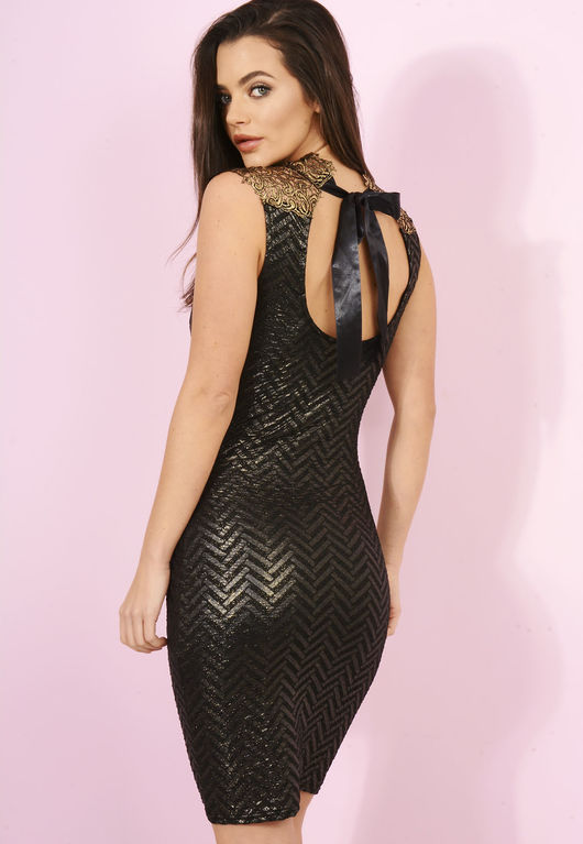 Embroidered Gold Detailed Black Bodycon Mini Dress