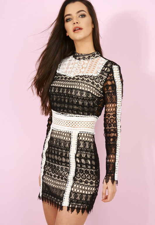 Layla Lace Black and White Bodycon Dress