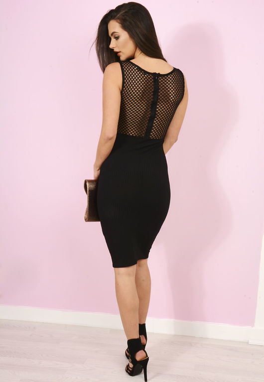 Angela Black Ribbed Mesh Bodycon Midi Dress