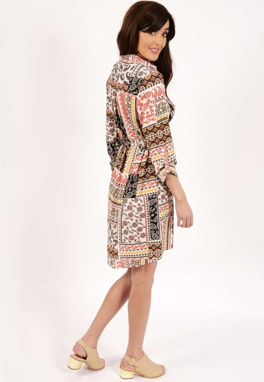 Holly Paisley Print Belted Shirt Dress