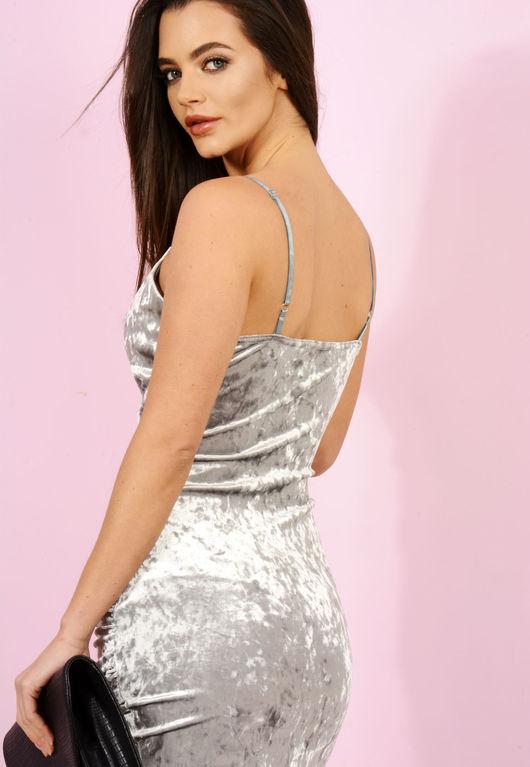 Silver Velvet Crush Strappy Dress