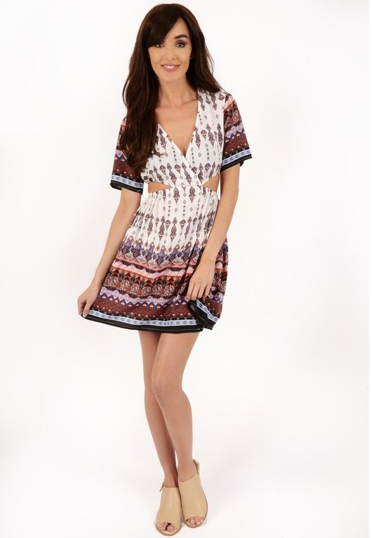 Karina Paisley Print Cut Out Dress