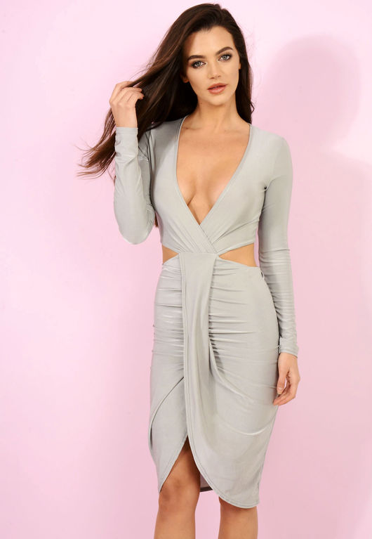 Cut Out Slinky Dress Grey