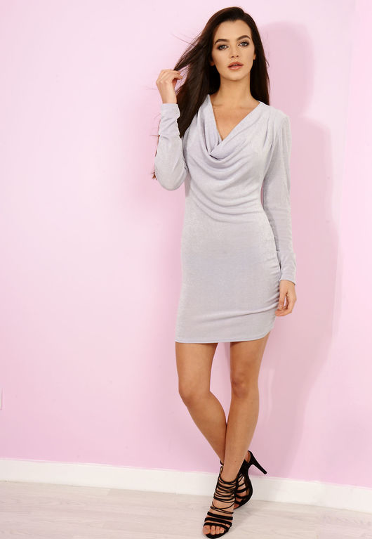 Slinky Drape Neck Dress Grey