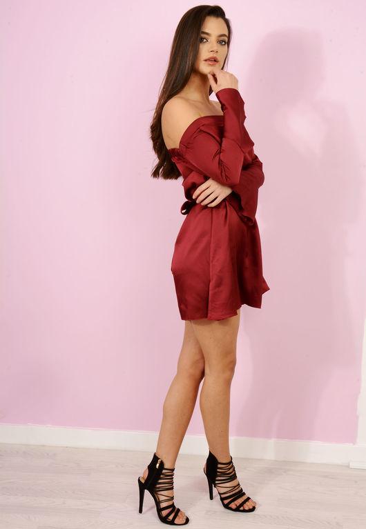 Satin Tie Waist Bardot Dress Wine