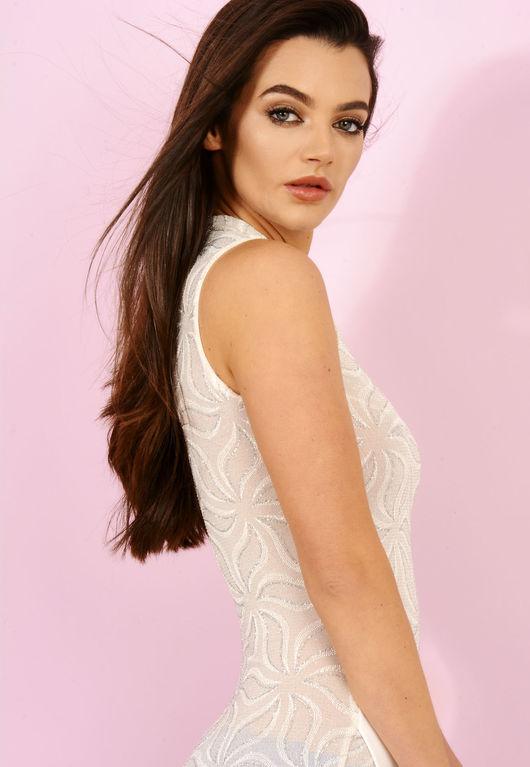 Cream Sparkle Body-con Dress