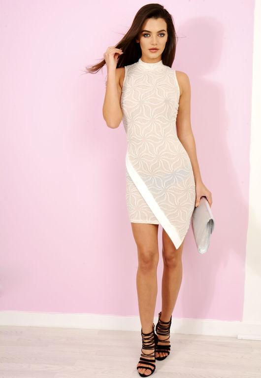 Cream Sparkle Bodycon Dress