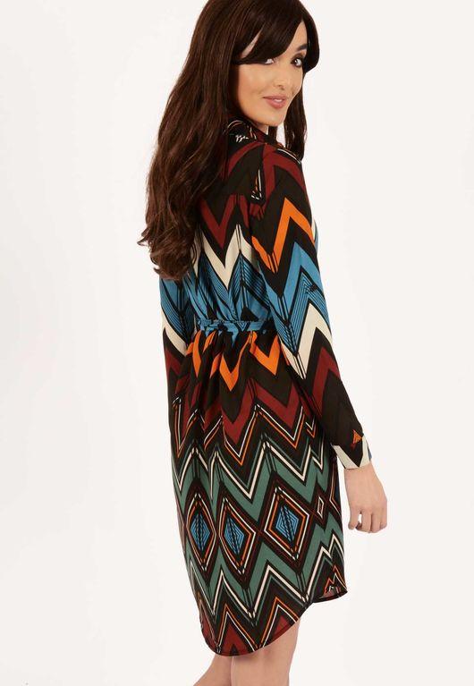 Ruby Blue Aztec Belted Shirt Dress