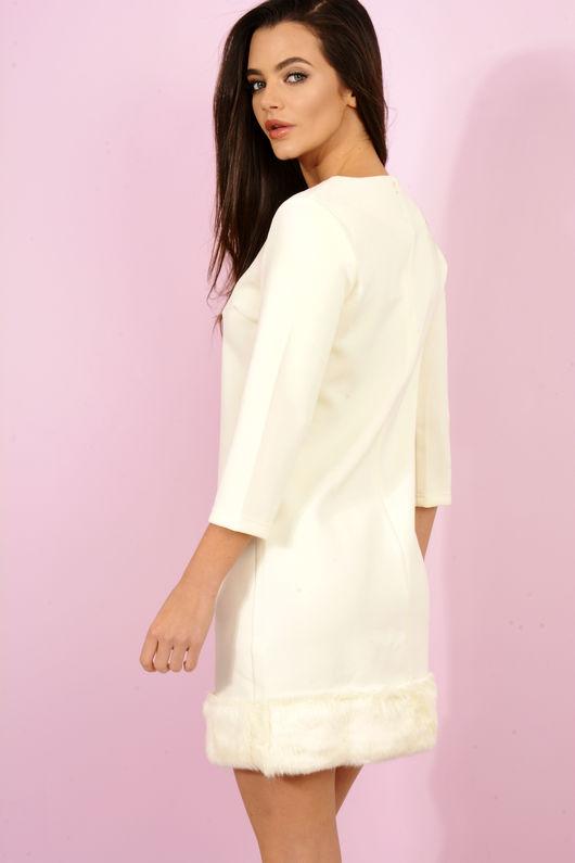 Cinder Off White & Gold Chain Fur Detail Dress