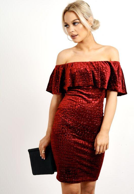 Frill Off The Shoulder Velvet Dress