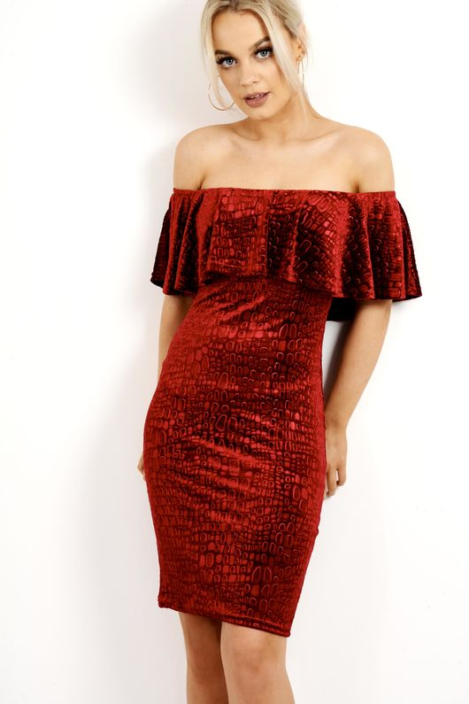 Frill Off The Shoulder Velvet Textured Dress Wine