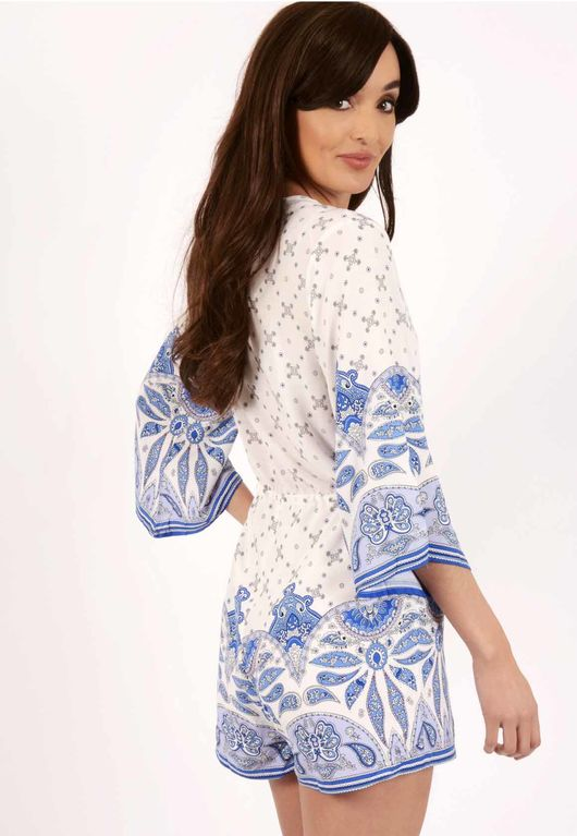 Rosie Blue & White Paisley Print Playsuit