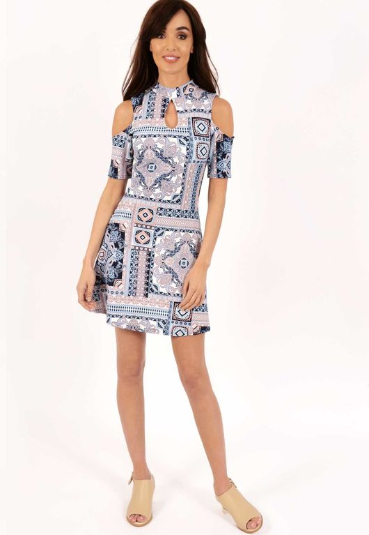 Mary Paisley Print Cold Shoulder Dress