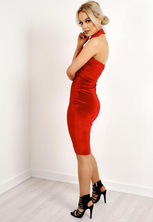 Sleeveless Choker Neck Velvet Bodycon Dress Red
