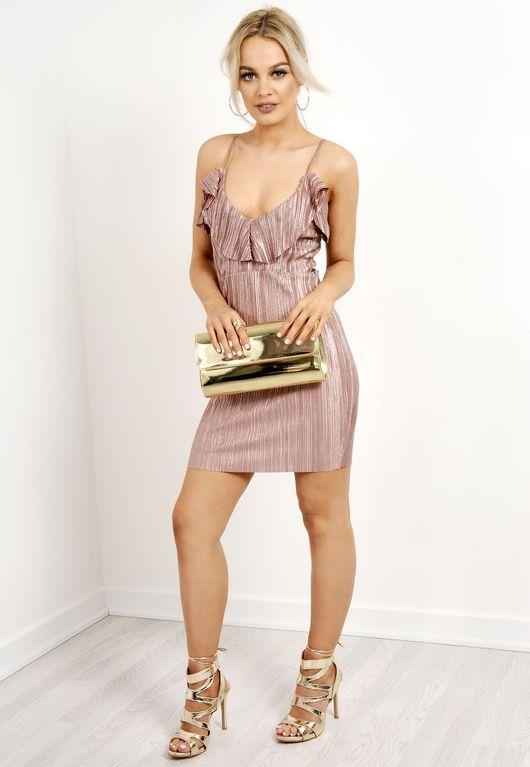 Metallic Frill Mini Dress Pink