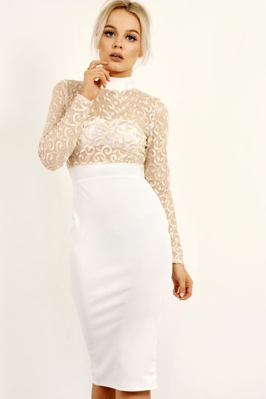 White Gold Embroidered Detail Bodycon Dress