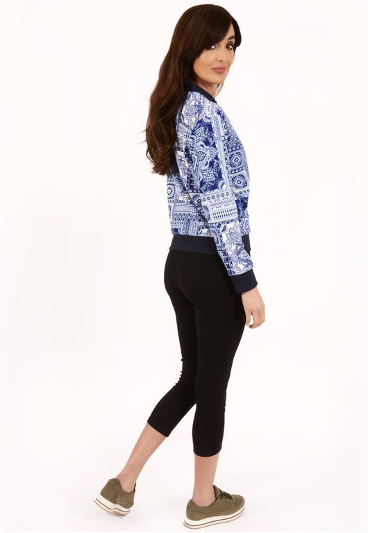 Stef Blue Paisley Print Bomber Jacket