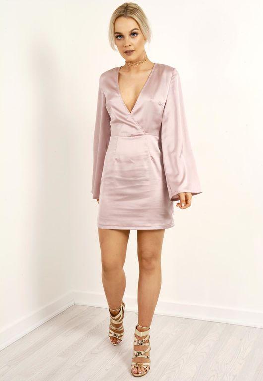 Silky Bell Sleeve Shift Dress Mauve