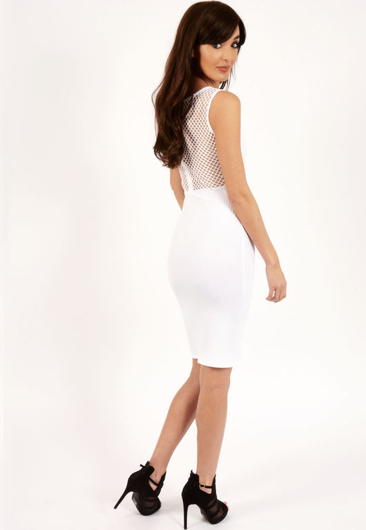 Angela White Ribbed Mesh Bodycon Midi Dress-Copy