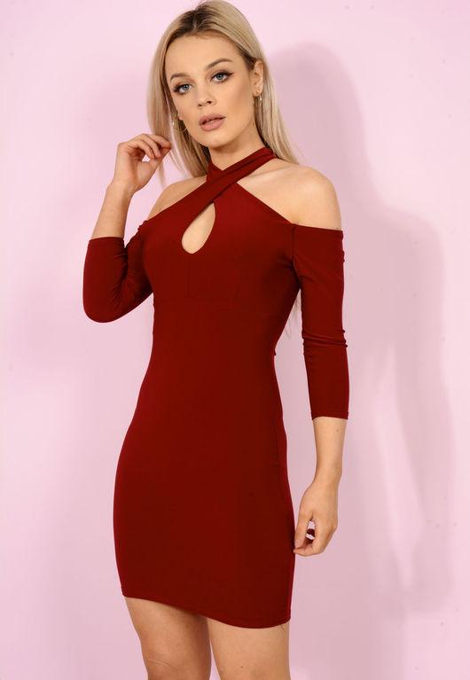Cross Over Key Hole Mini Dress