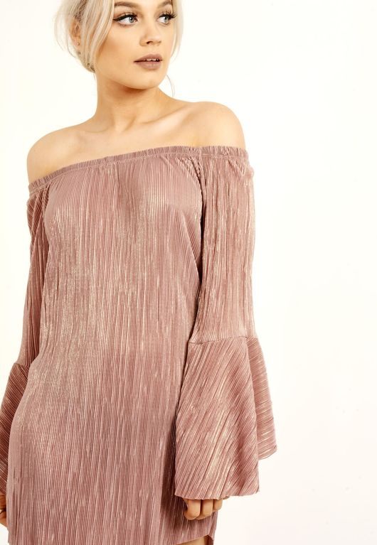 Metallic Pink Pleated Bardot Dress