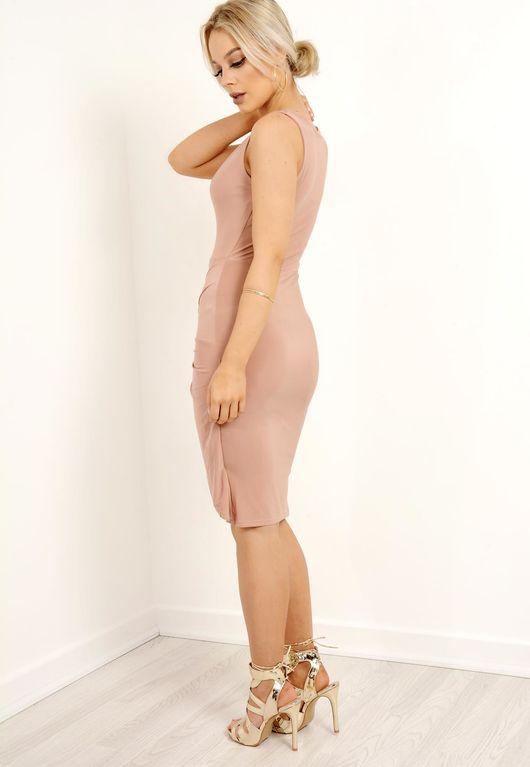 Slinky Thigh Split Plunge Dress Camel