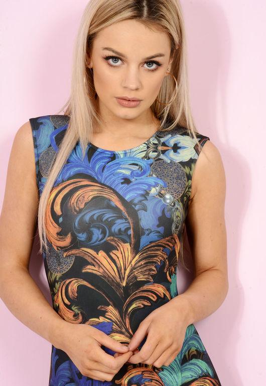 Lydia Blue & Orange Bodycon Mini Dress