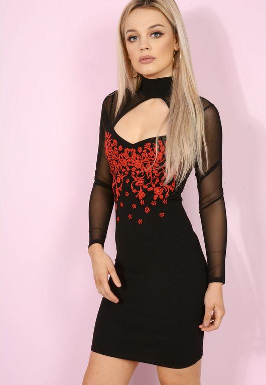 Victoria Choker Embellished Black Bodycon Dress