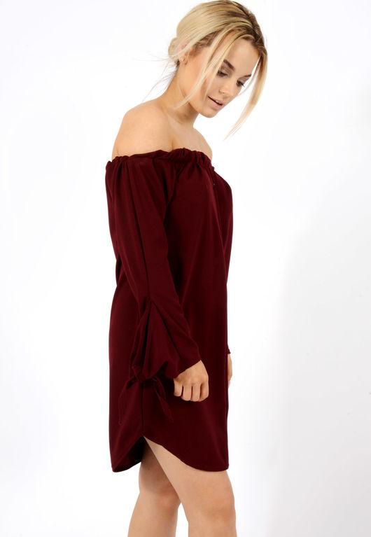 Tie Sleeve Bardot Dress Wine