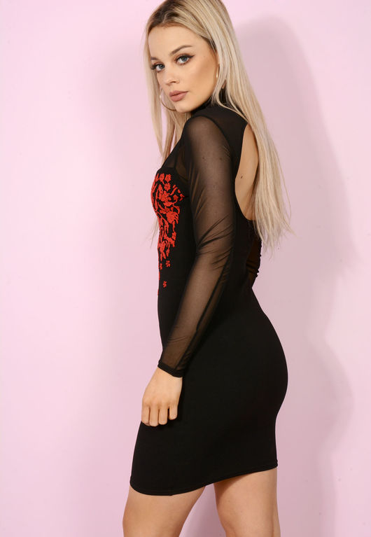 Victoria Choker Embellished Bodycon Red