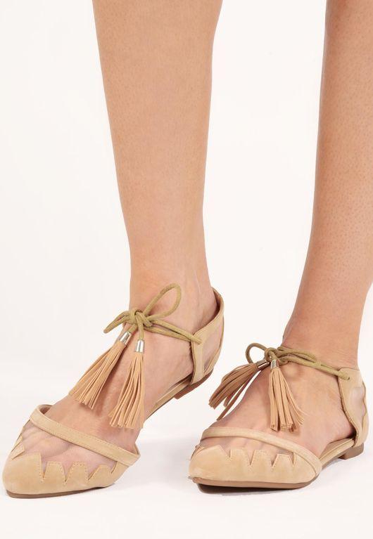 Tamara Beige Tassel Tie Mesh Detail Sandals