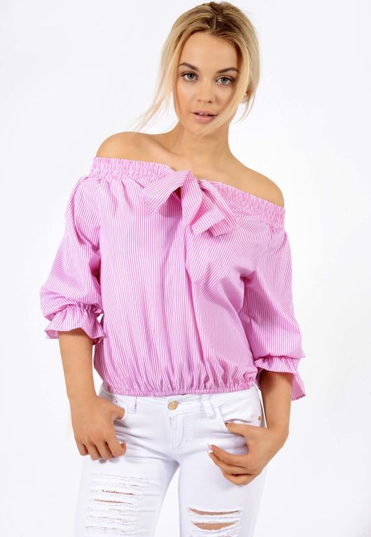 Bow Stripe Bardot Top Pink