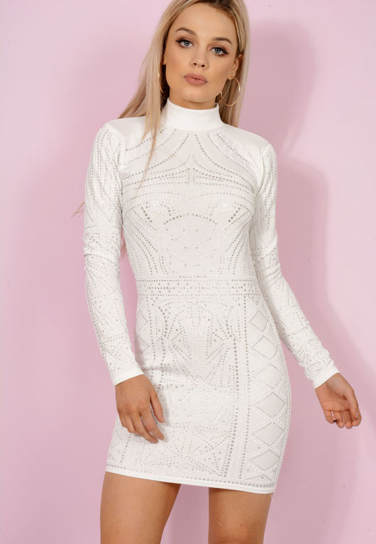 White Embellished High-neck Bodycon Dress