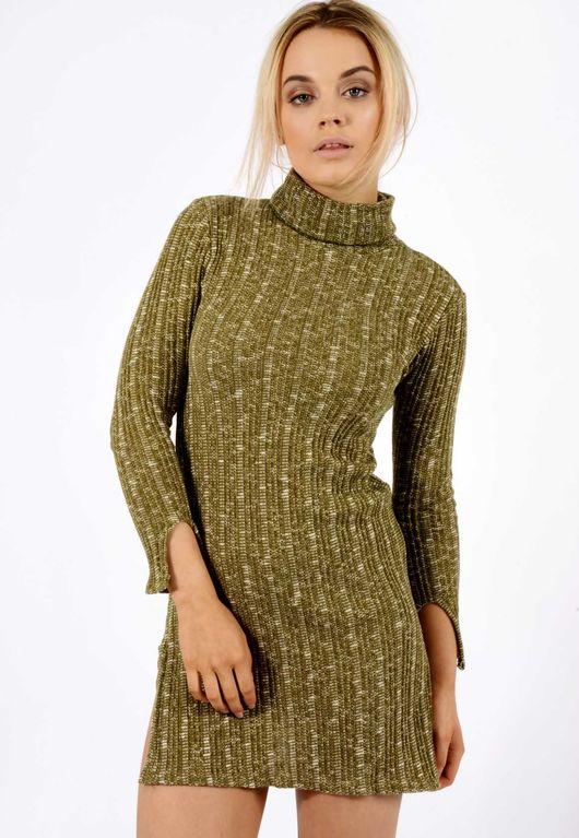 Roll Neck Ribbed Jumper Dress Khaki