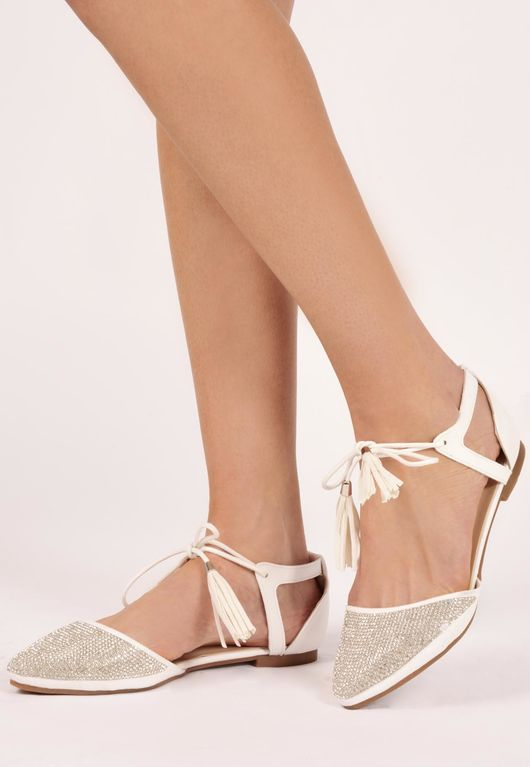 Shami White Diamante Tassel Tie Shoes