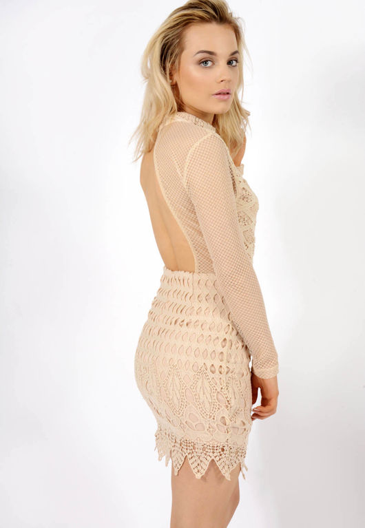 Lace high neck dress Nude