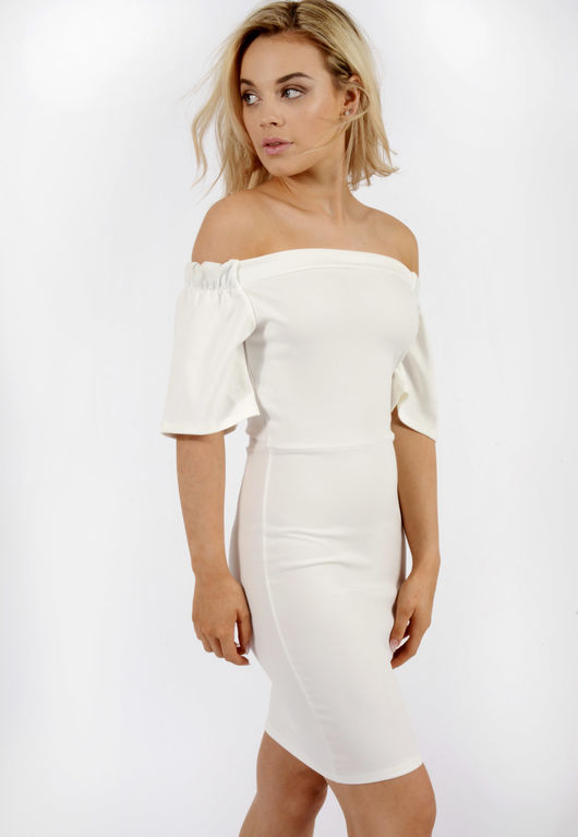 Frill Sleeve Bardot Dress White