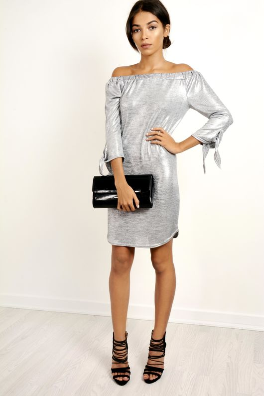 Metallic Bardot Style With Tie Cuffs Dress Silver