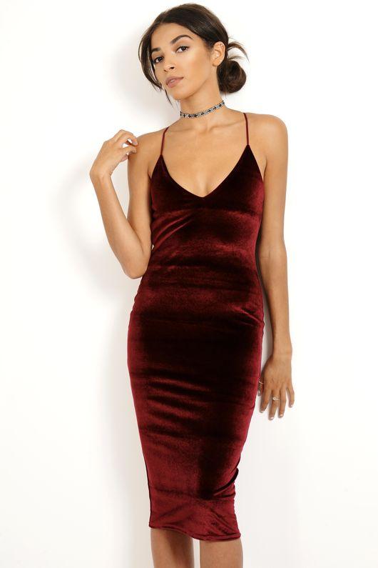 Velvet Strappy Midi Dress Wine