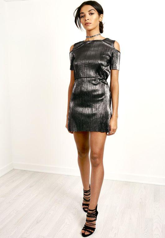 Metallic Cold Shoulder Mini Dress Grey